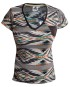 Marco Martinez White Ikat Stripe t-shirt with faux leather