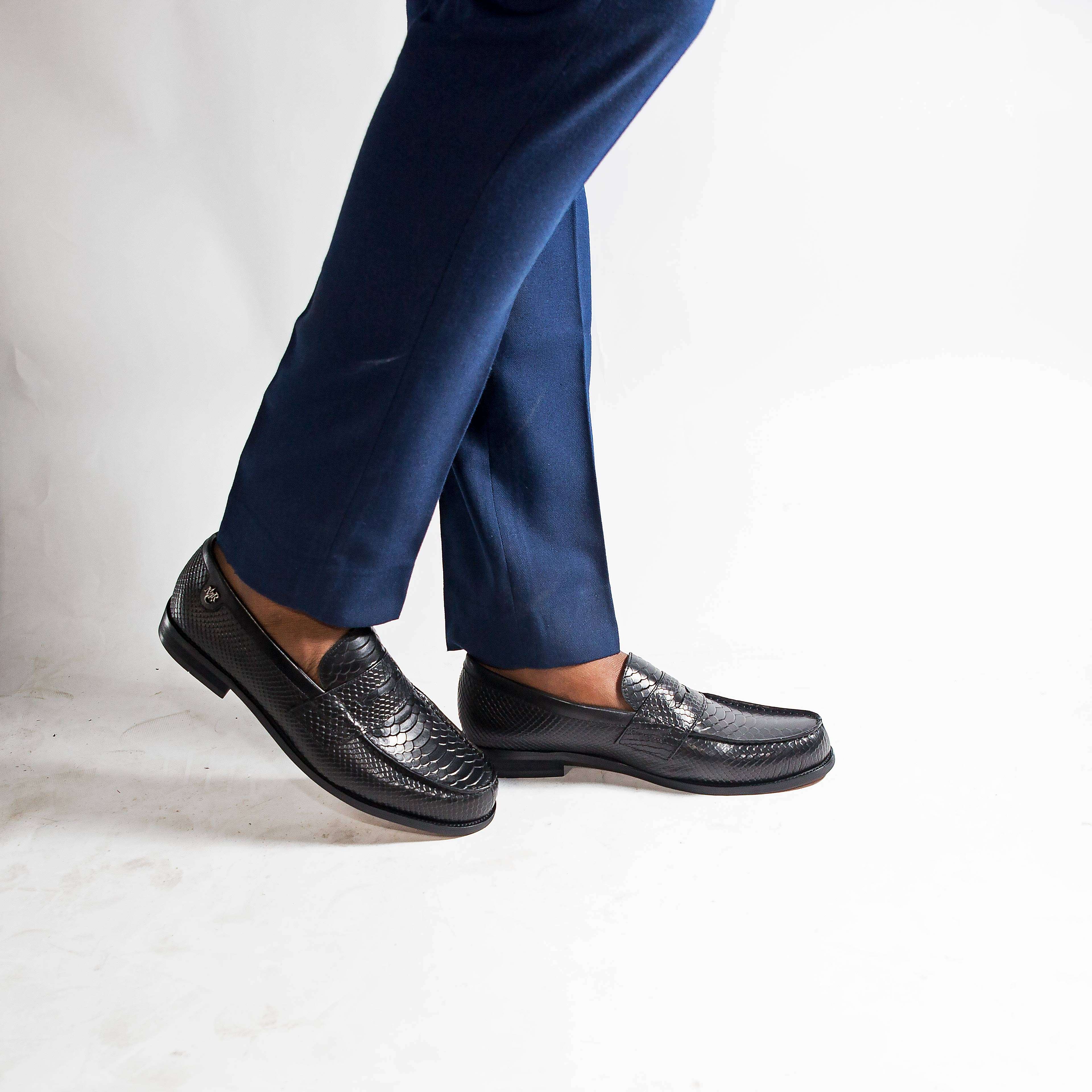 marco martinez black scaled penny loafers marco martinez